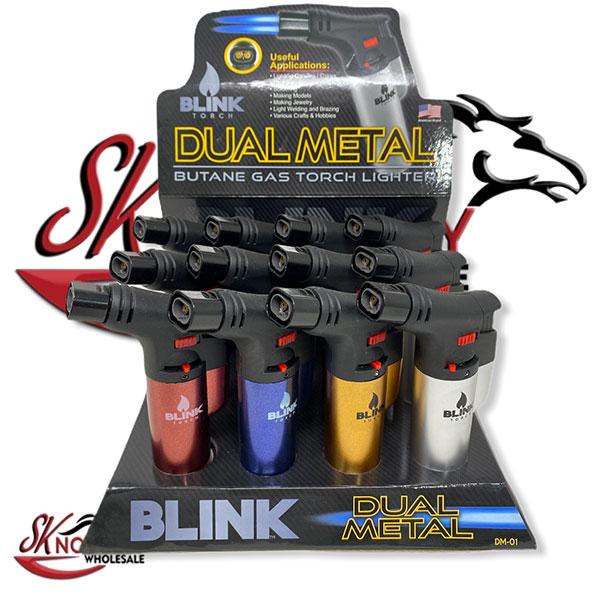 Blink Torch Dual Metal Butane Gas Lighters 12pcs Wholesale 1
