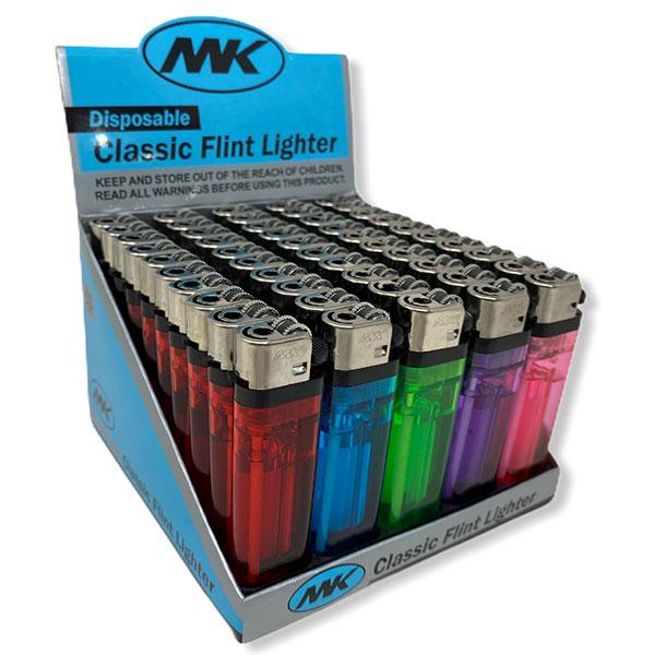 Mk Disposable Classic Flint Lighter 50 Pcs Various Colors Gas 1