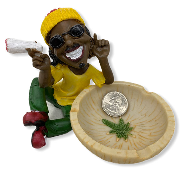 Rasta Man Ashtray Holding Cigarette Bowl Marijuana Logo 1