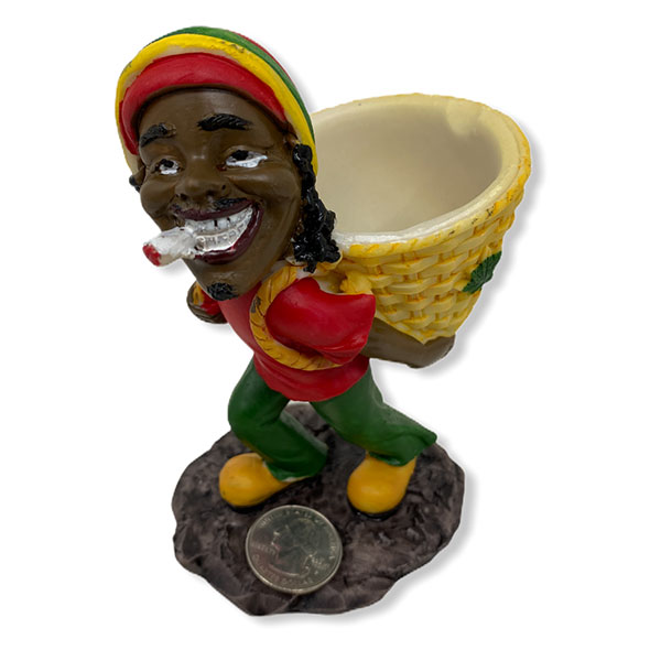 Rasta Man Ashtray Holding Cigarette With Mouth Carrying Bowl 1