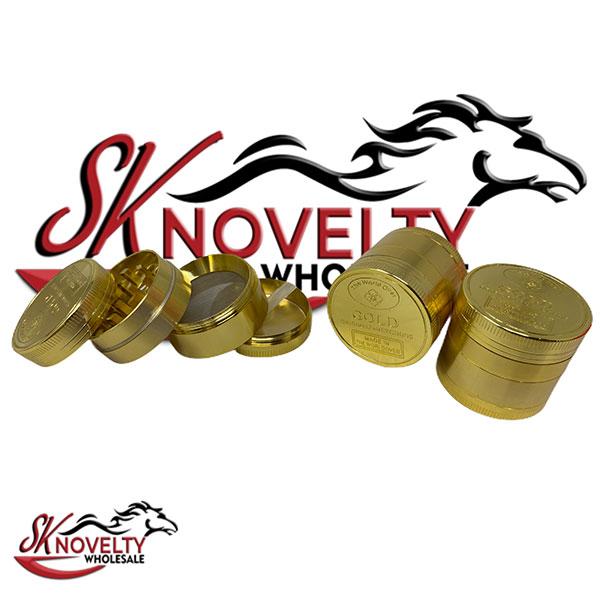 Wholesale Best Tobacco Herb Grinder Antique Leaf Putting Bulk Size Price Gold Hand Held Gold Design 4 Parts 2