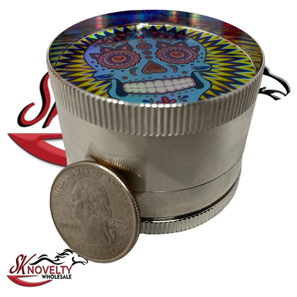Wholesale Best Tobacco Herb Grinder Antique Leaf Putting Bulk Size Price Hand Held Calavera Designl 4 Parts 2