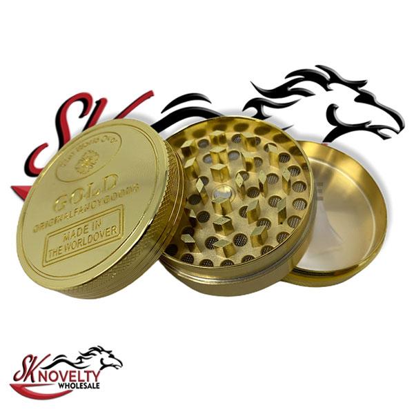 Wholesale Best Tobacco Herb Grinder Antique Leaf Putting Bulk Size Price Hand Held Gold Bigger 3 Parts 2