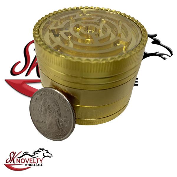 Wholesale Best Tobacco Herb Grinder Antique Leaf Putting Bulk Size Price Hand Held Gold Mazel 4 Parts 2