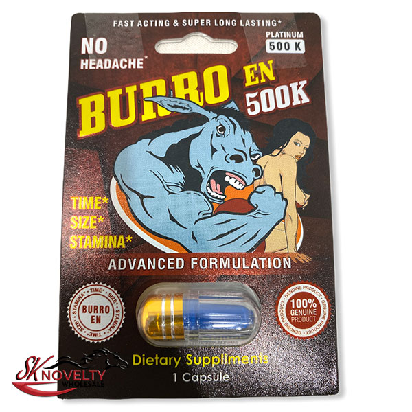 Burro En 500k Male Enhancement Singple Pill Enhancer Sexual Boost Stamina Sex Xxx 24 Count Display 2