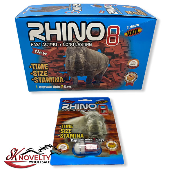 Rhino 8 100k Platinum Long Lasting Male Enhancement Single Pill Pills Sex 24 Counts Count 2