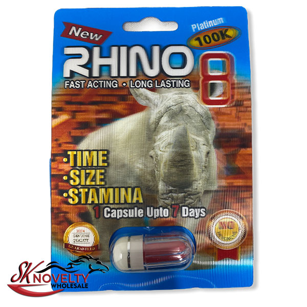 Rhino 8 100k Platinum Long Lasting Male Enhancement Single Pill Pills Sex 24 Counts Count