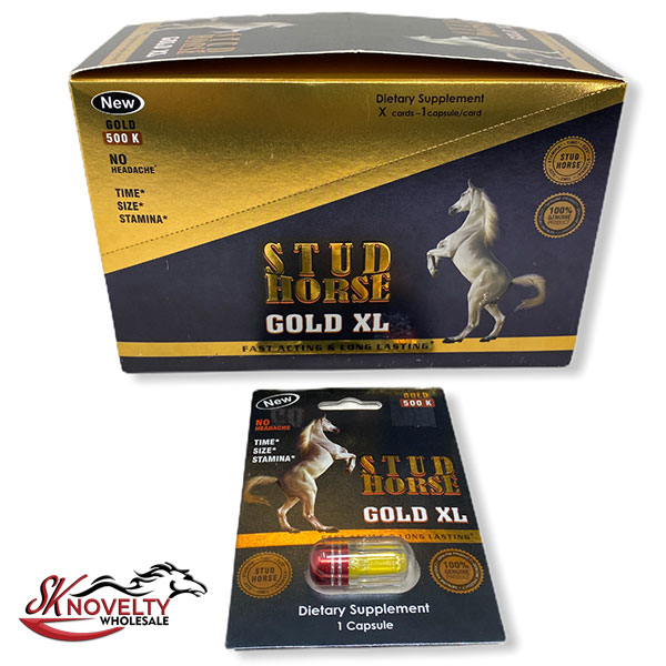 Stud Horse Gold Xl 500k Male Enhancement Singple Pill Enhancer Sexual Boost Stamina Sex Xxx 24 Count Display 1