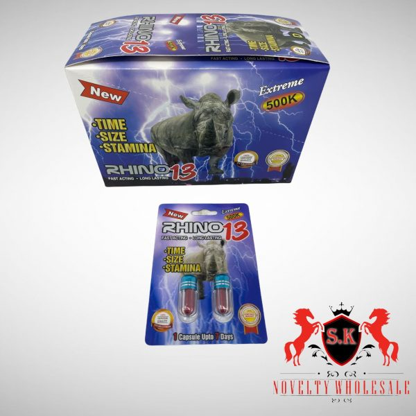 Male Enhancement Sexual Pill Sk Novelty Double Pill Rhino 13 Extreme 500k 24 Count